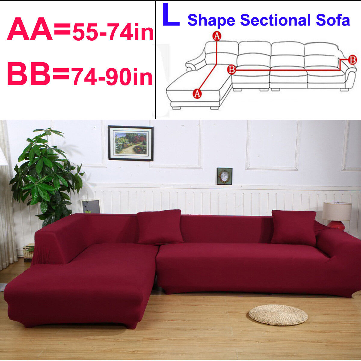 Details About L Shape Sectional 2 Seater 3 Seater Slipcover Corner Stretch Sofa Couch Cover