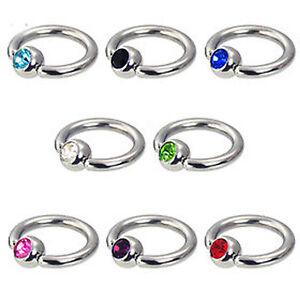 Piercing Ring 1,0mm Augenbrauen Ohr Kristall Kugel 4mm Lippenbändchen Piercing