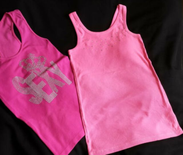 Lot Of 2 Tank Top Cherokee Sexy Hot Pink Crown Sequin Blouse Junior Xl Women M