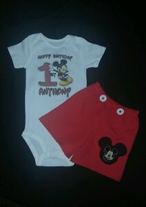 Personalized Mickey Mouse Birthday Outfit Set 1st 2nd 3rd 4th Or 5th Birthday Ebay