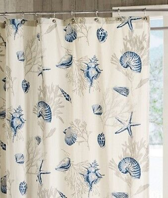 blue shells shower curtain bayside sea shell coral starfish beach house ebay