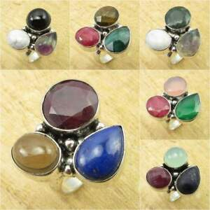 Multi Color, Multi Gemstones, Multi Sizes ! 925 Silver Plated ART Ring JEWELRY