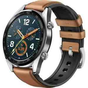 NEW HUAWEI WATCH GT Classic Stainless steel Saddle Brown Hybrid Strap FTN-B19