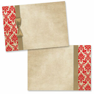 Details About Blank Party Invitations Wedding Invites Red Gold Damask Pk Of 20 Free Envs