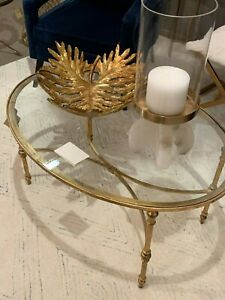 details about mid century modern 40 aged gold leaf iron glass top oval coffee table