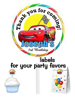 Disney Cars Birthday Party Favors Stickers Labels For Lollipops Goody Bags Ebay