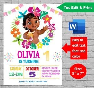details about personalized moana baby 1st birthday party invitation digital invite printable
