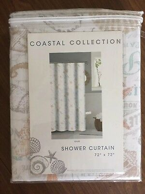coastal collection sea life fabric shower curtain paris starfish seahorse ebay
