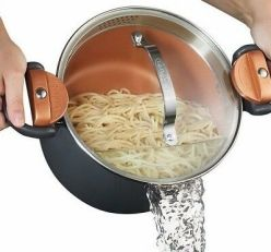 Gotham-Steel-Nonstick-Pasta-Pot-with-Built-in-Strainer-Lid-amp-Locking-Handles-NEW