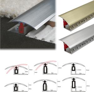 details about aluminium door threshold bar trim adjustable height pivots easy clip carpet