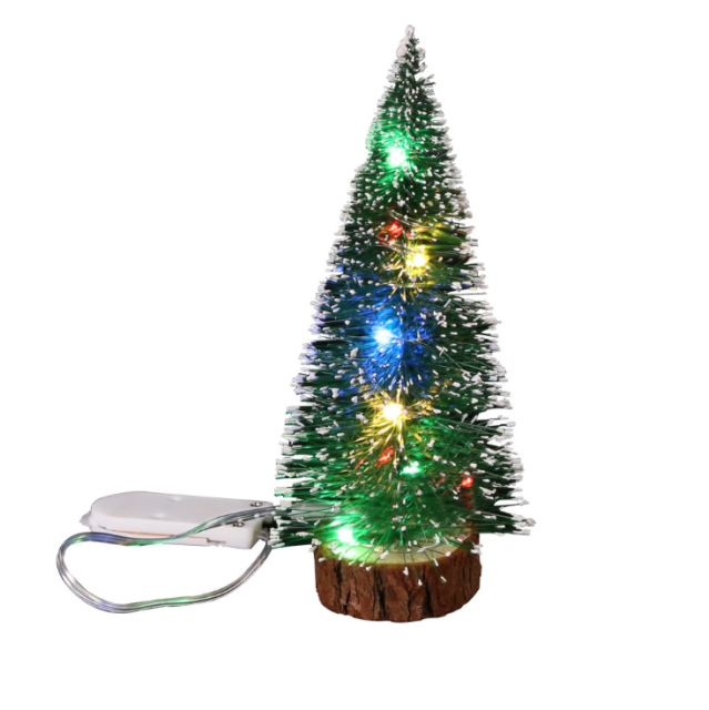 Mini Led Sisal Christmas Pine Trees Ornament Snow Frost Small Xmas Decor Gifts For Sale Online