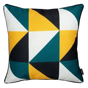 details about geometric cushion teal blue mustard yellow throw sofa pillow cover uk 45cm 18