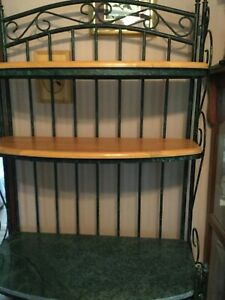 details about bakers rack wrought iron w 2 wood 1 marble shelves