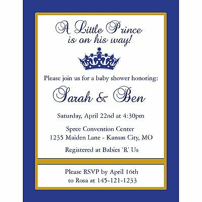 20 Personalized Baby Shower Invitations Little Prince Design Ebay