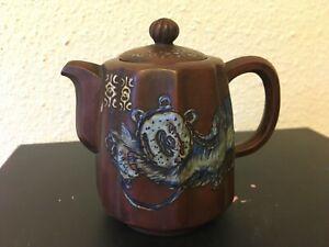Antique Chinese Yixing Zisha Clay Teapot With glazed blue foo-dog