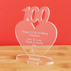 100th Birthday Personalised Milestone Heart Keepsake Gift Idea For Him Or Her Ebay