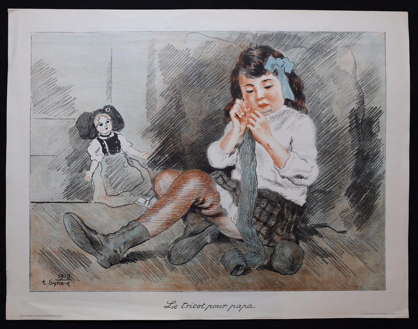 Tancrède Synave (1870-1936) Child Doll War Poster 1915 Alsace Lorraine
