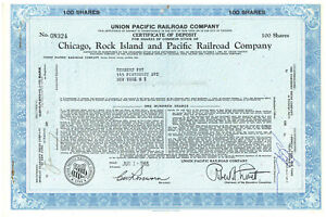 Details About Union Pacific Rail Road Company Set Of 2 Stock Certificate Of Deposit