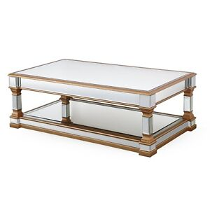 details about art deco style mirror coffee table with gold trim mirror coffee table with shelf