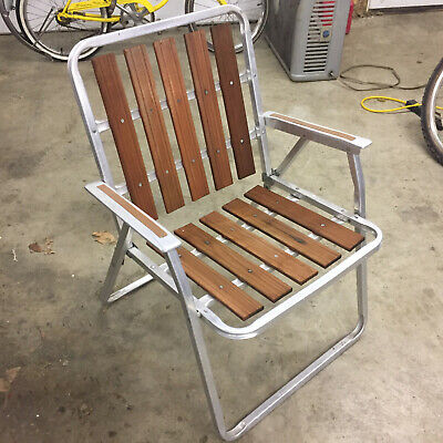 vintage wood cedar metal mid century folding lawn patio chair camping travel ebay