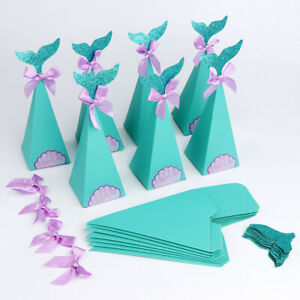 10x Mermaid Party Favor Box Diy Gift Box Little Mermaid Birthday Party Supplies Ebay