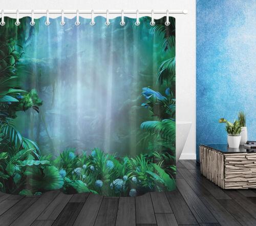 home garden shower curtains bath waterproof fabric shower curtain set foggy rainforest tropical green leaves mymofid com