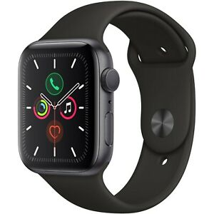 Apple Watch Series 5 44mm Space Gray Aluminum Case Black Sport Band MWVF2LL/A
