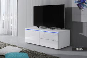 details sur luvitca singuli meuble tv 100 cm blanc noir gris led bleue laque brillant