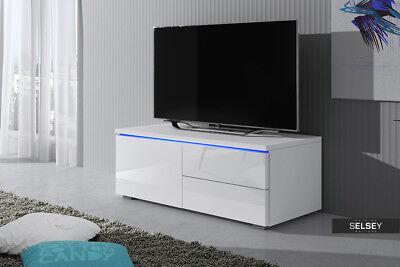 luvitca singuli meuble tv 100 cm blanc noir gris led bleue laque brillant ebay