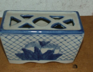 Original Antique Chinese Blue & White Porcelain Opium Pillow