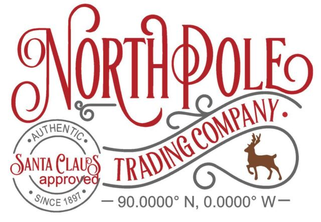 Christmas Xmas North Pole Trading Company Stamp Label
