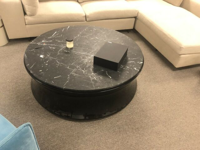 round coffee table marble top w black lacquer wooden base living room