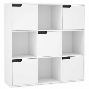 details sur meuble de rangement bibliotheque etagere en bois cube 9 cases bois avec 5 portes