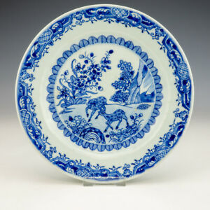 Antique Chinese Porcelain - Blue & White Oriental Deer Plate - Early!