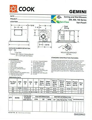 new loren cook gcvf ceiling exhaust fan variable flow ec motor 500cfm 120 1 60 ebay