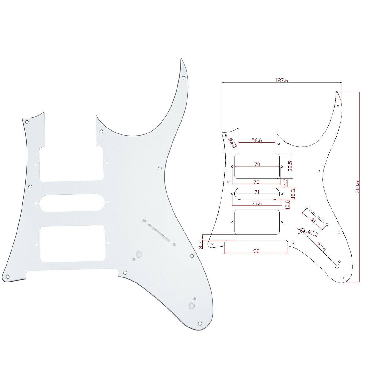 White Electric Guitar Pickguard For Ibanez Rg 750