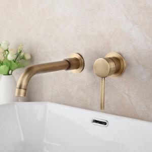 details about 2pcs antique brass bathroom faucet wall mount mixer single handle basin sink tap