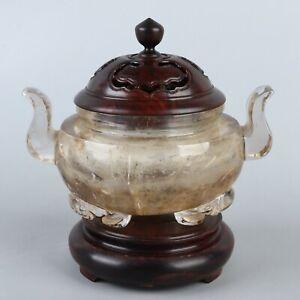 Antique Chinese Natural Crystal Carving Incense Burner Censer & Wood Stand Lid