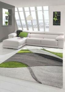 details sur tapis moderne tapis salon abstrait en vert gris noir