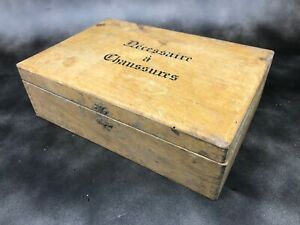 details sur ancienne boite en bois necessaire a chaussure caisse rangement vintage