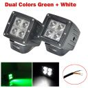 2X 3″ Inch 24W Green White Dual Colors LED Work Light Cube Pods ATV SUV TRUCKS