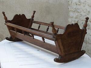 details sur ancien petit lit a bascule berceau regional bois massif cheville bebe ou deco