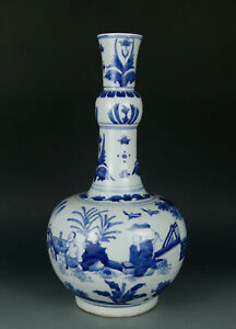 Blue and white Chinese antique porcelain gourd vase with figures painting