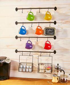 details about coffee mug rack k cup basket holder organizer hooks wall mount kitchen storage