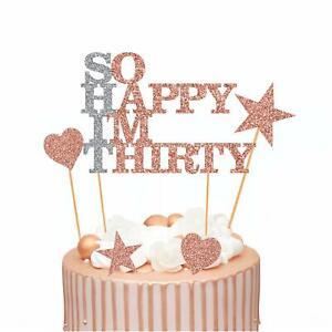 So Happy I M Thirty 30th Birthday Cake Topper Funny Cake Decoration 30 Ebay