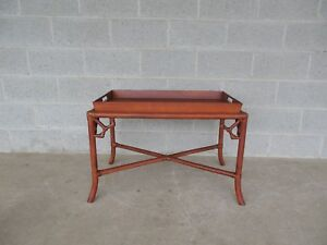 details about hollywood regency bamboo tray top coffee cocktail table 32 w x 19 d