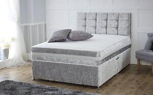 Image Is Loading Crushed Velvet Divan Bed Memory Mattress Headboard 3ft
