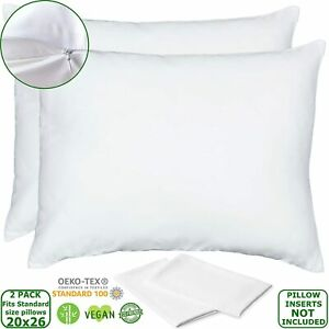 details about vegan silk bamboo pillow cases lyocell set of 2 zippered pillowcases white s