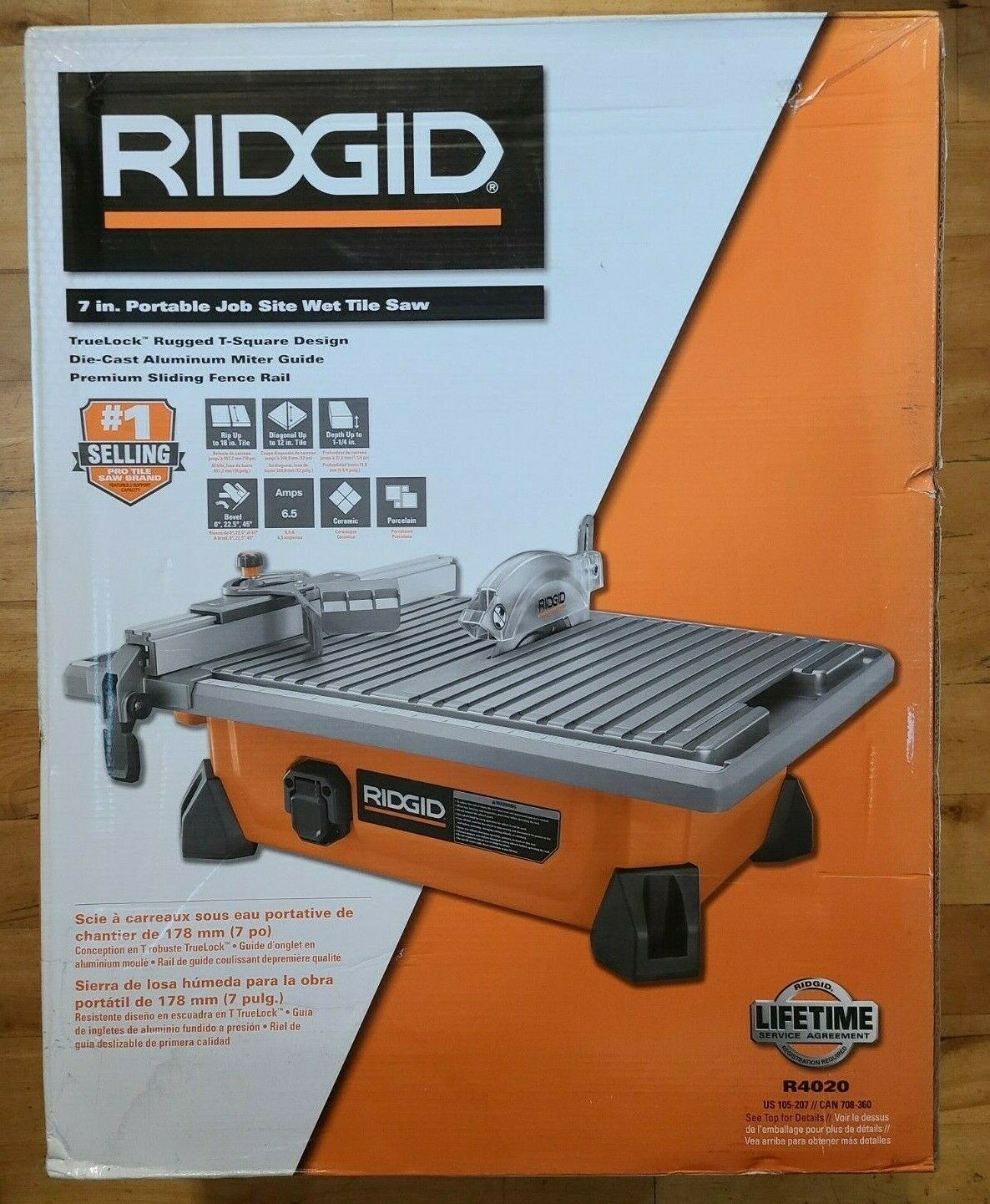 ridgid 7 in portable job wet tile saw 4020 120v 6 5 amp motor