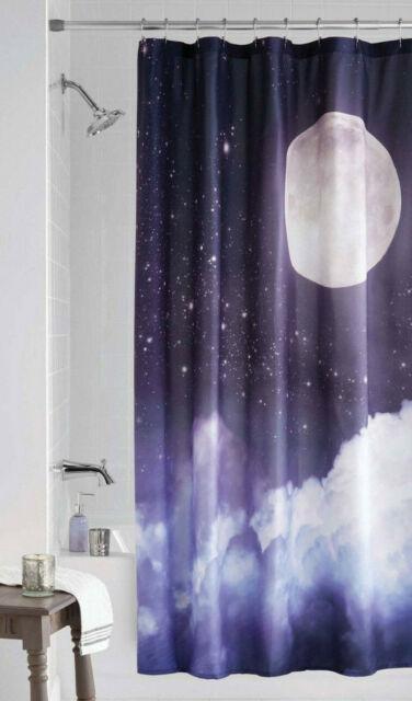 moon night sky stars clouds fabric shower curtain celestial space galaxy decor